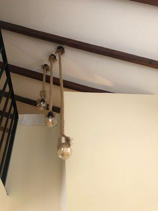3 lamparas de cuerda con bombilla diamante
