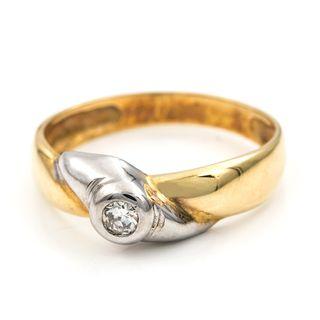 Anillo Oro de Ley 18 k Bicolor Con Diamante