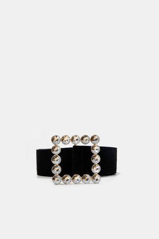 Cinturón terciopelo negro cristales