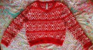 Jersey suave rojo y blanco de Pull and Bear