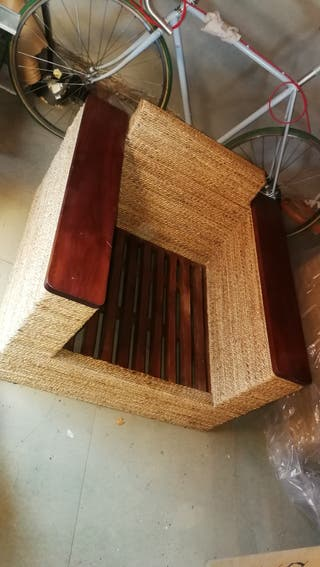 muebles de jardín, madera y ratán. Para exterior