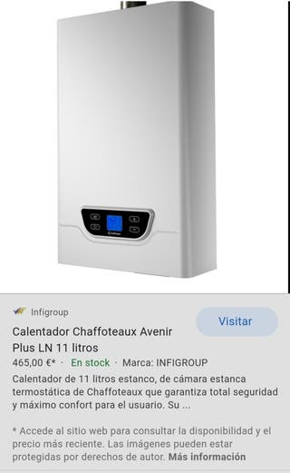 Calentador estanco de gas natural Chaffoteaux