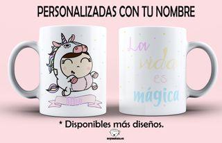 """Taza UNICORNIO """"La vida es mágica"""" personalizada."""