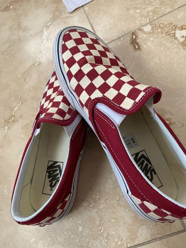 Red checkered slip on vans