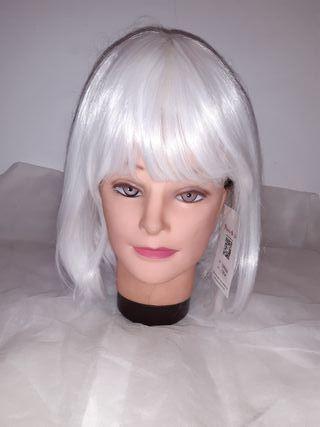 peluca blanca sintetica