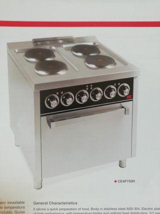 cocina 4 fuegos mas horno eléctrica HR