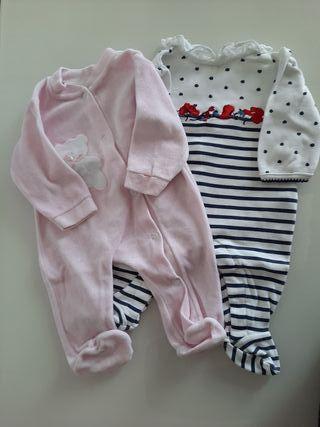 Lote de 2 monos/ pijamas de bebé talla 1-3 meses