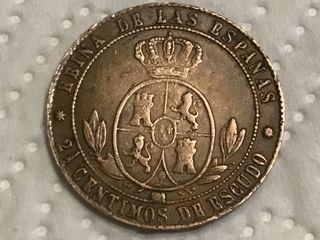 MONEDA ESPAÑOLA 2 1/2 Céntimos. AÑO 1866.