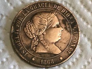 MONEDA ESPAÑOLA 5 Céntimos. AÑO 1868