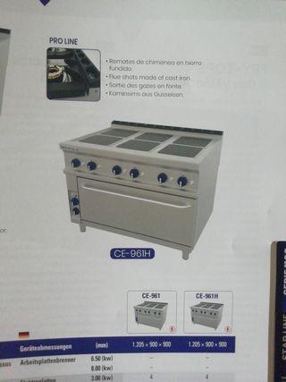 cocina profesional eléctrica 6 fuegos