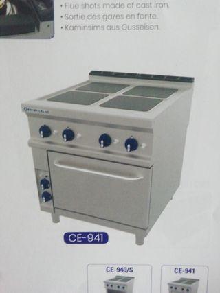 cocina eléctrica 4 fuegos mas horno industrial 90