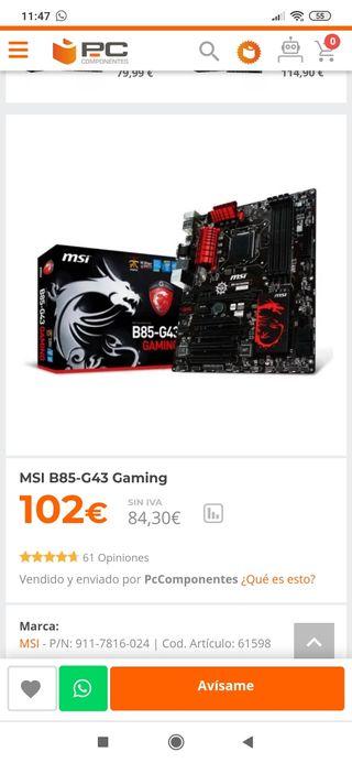 Placa base MSI B85-G43 gaming