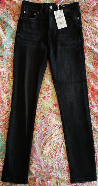Pantalones pitillo cintura alta, negros de Zara