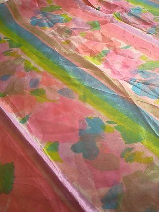 Retal de tela de organza de cristal estampada flor