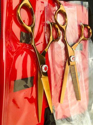 Pro barber scissor set size japanese steel j2 6.5