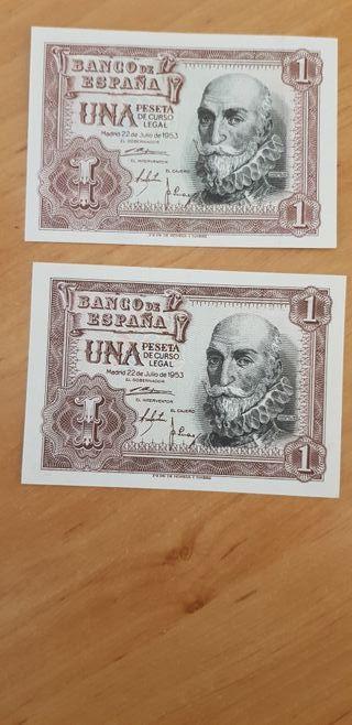 Pareja billetes 1 peseta año 1953