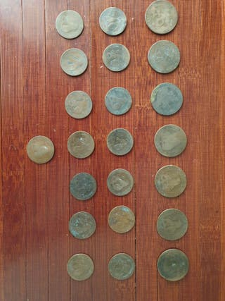 MONEDAS DE 5 Y 10 CÉNTIMOS ESPAÑA 1870