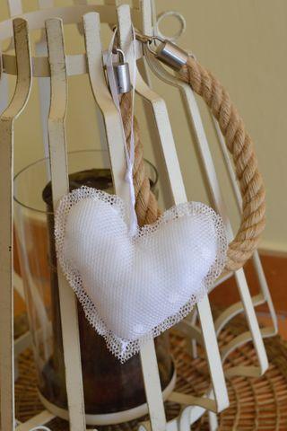 Colgante corazón de Tela Color Blanco, Decoración.