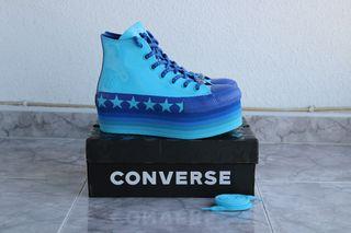 Converse azul plataforma