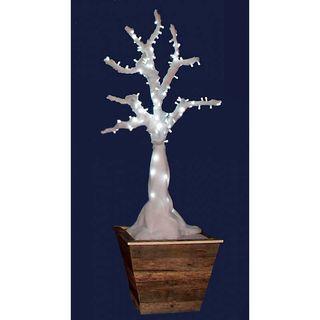 Árbol guata blanco con luz led con macetero r8023