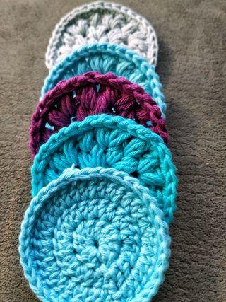 Discos reutilizables a crochet en algodón 100%