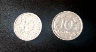 2 MONEDAS 10 CENTIMOS FRANCO 1959