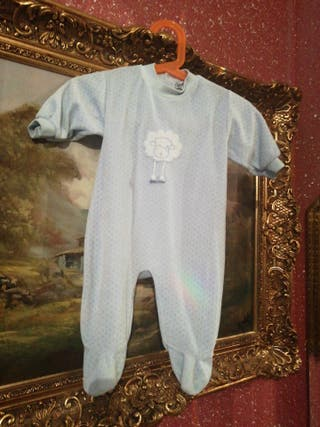 Pijama talla 6 meses niño niña unisex azul muñeco