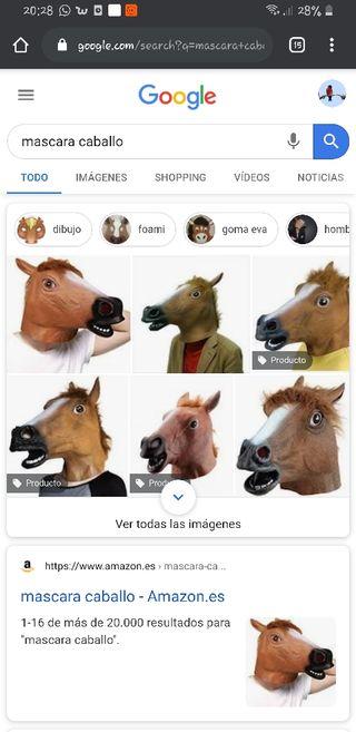 mascara cabeza de caballo