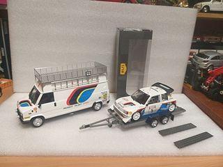 1/18 maqueta remolque más furgoneta + coche +