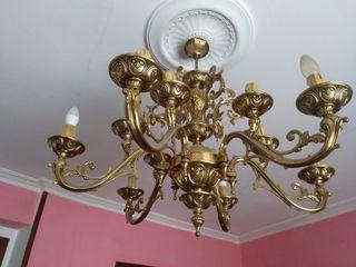 Lámpara araña vintage bronce/latón