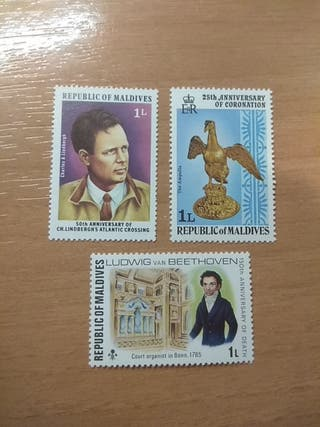 3 stamps / sellos from the Maldives