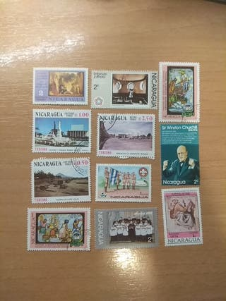 11 sellos / stamps. Nicaragua. 70s & 80s