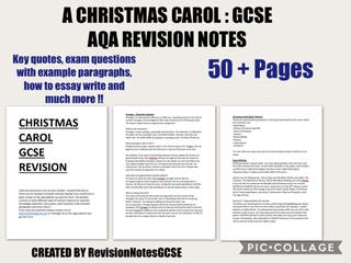 CHRISTMAS CAROL : AQA REVISION