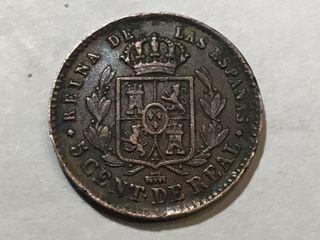 MONEDA ESPAÑOLA 5 Céntimos de Real. AÑO 1863