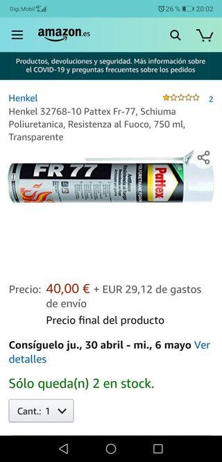 espuma poliuretano fr 77