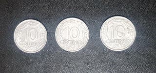 3 MONEDAS 10 CTS FRANCO 1959