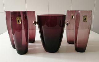 cubitera vintage cristal/plata y vasos largos.