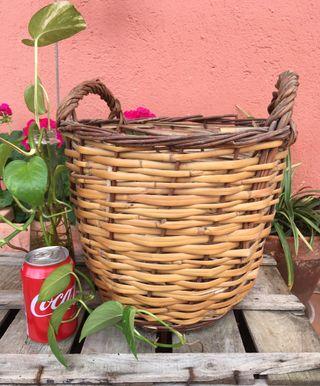Antiguo cesto caña y 2 asas #yomequedoencasa