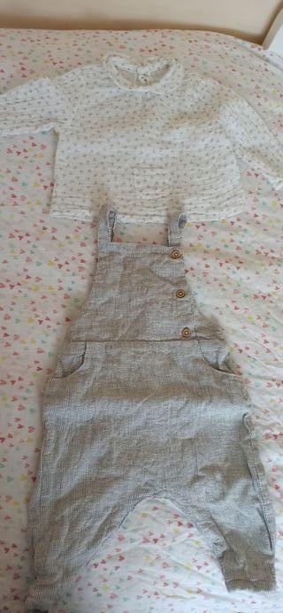 conjunto de peto y blusa de zara
