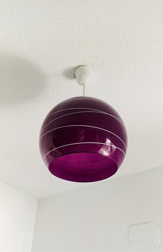 Lámpara de cristal techo morada