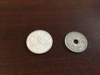 Antiguas monedas francesas 1930 plata?