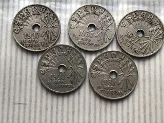 MONEDA 25 Céntimos. GUERRA CIVIL. AÑO 1937. 5x6€
