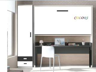 Cama abatible con escritorio extraíble y armario)