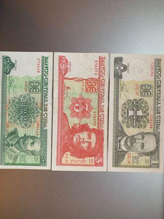 3 pesos cubanos del Che Guevara (total 6 billetes)
