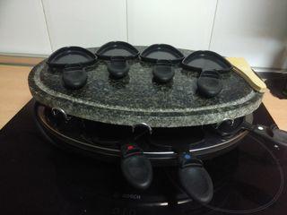 plancha a la piedra con raclette
