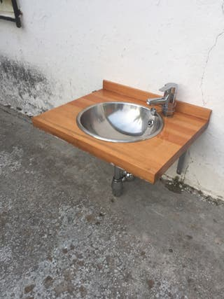Lavabo acero + encimera madera