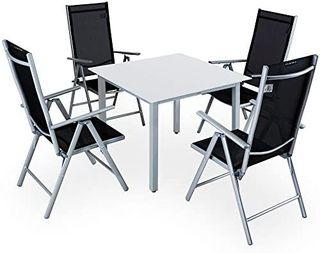 Casaria Conjunto de 1 Mesa y 4 sillas de Aluminio