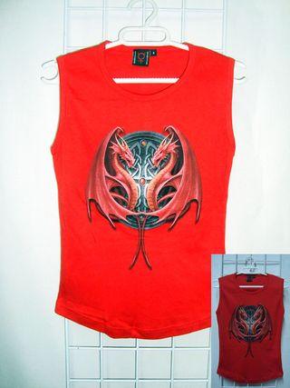 SPIRAL Camiseta Sin Mangas Vikingo Dragón Rojo