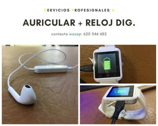 RELOJ TÁCTIL/ ELÉCTRICO BLANCO + AURICULAR.