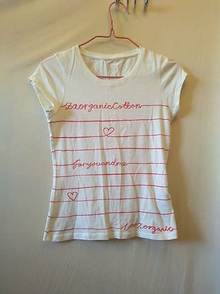 Camiseta blanca de algodón orgánico Zara